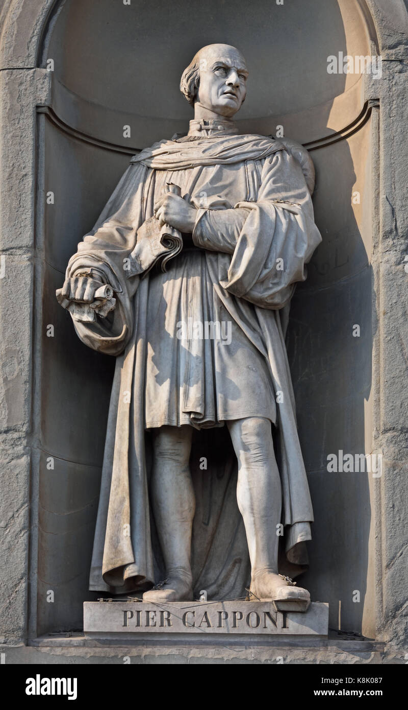 Piero Capponi - Pier Capponi. (1447 – 1496) was an Italian statesman and warrior from Florence. Statue at the Uffizi - Stock Image