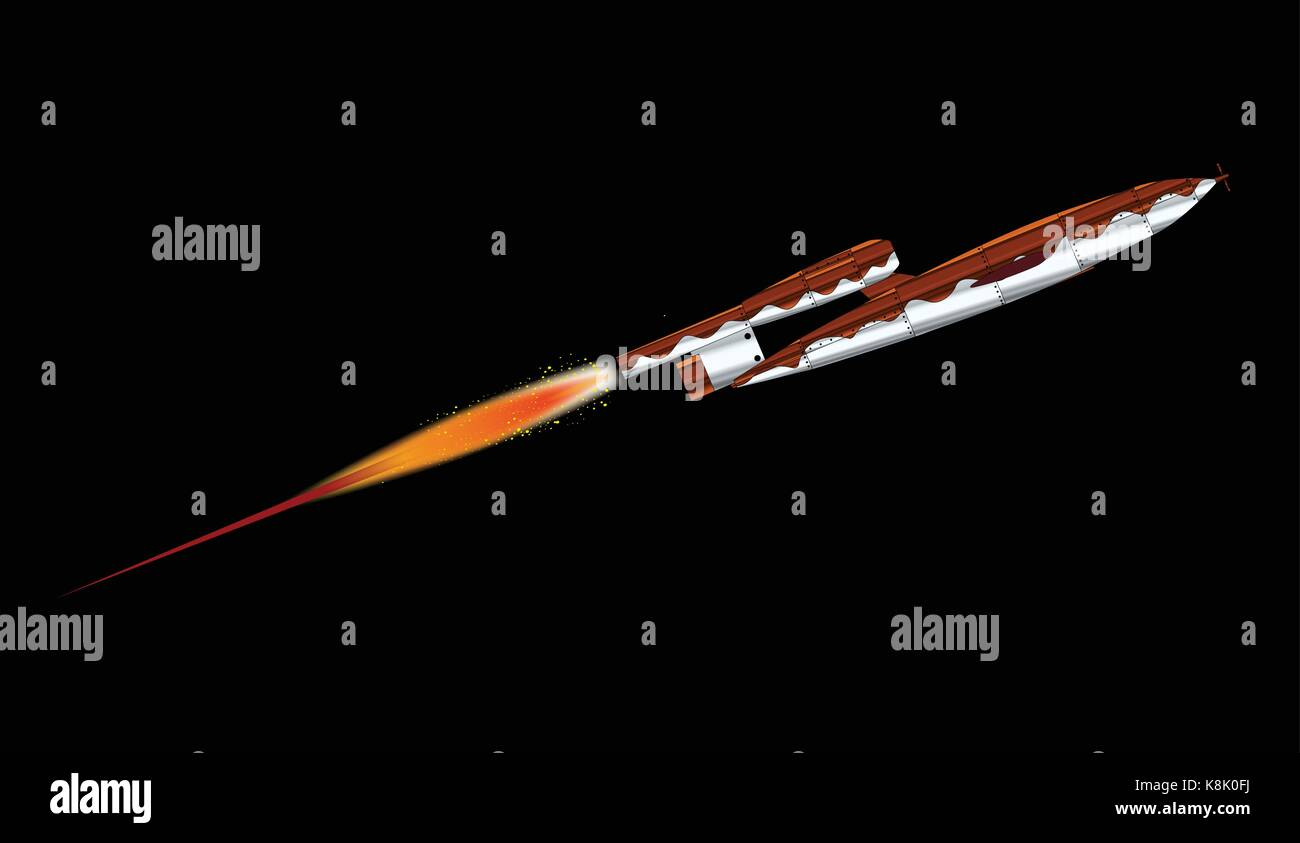 V1 German World War 2 Rocket launched over a black background - Stock Vector