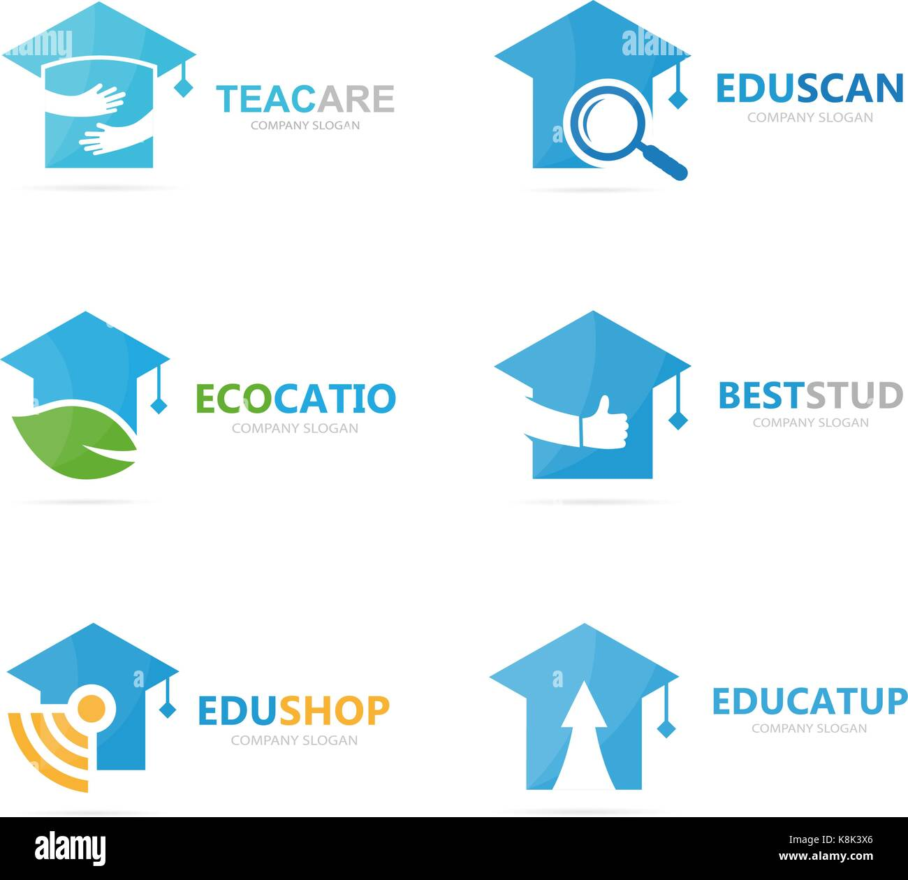 Set of graduate hat logo combination. School and college symbol or icon. Unique study and education logotype design - Stock Image