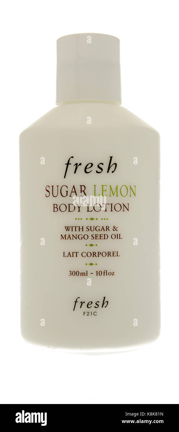 Winneconne, WI - 19 September 2017:  A bottle of Fresh sugar lemon body lotion on an isolated background. - Stock Image