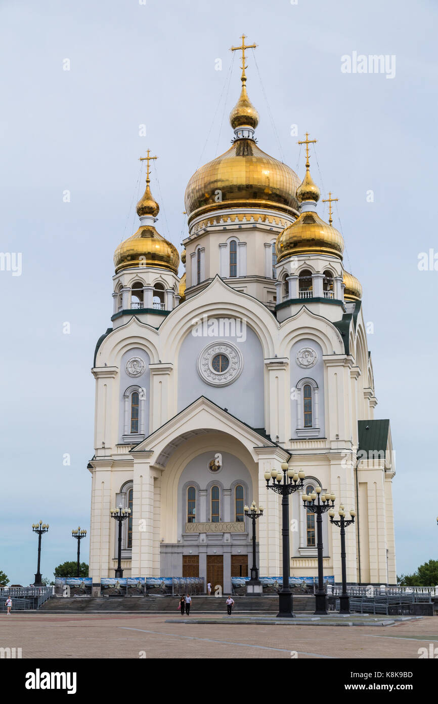 Russian Orhodox Cathedral in Khabarovsk, Russia - Stock Image