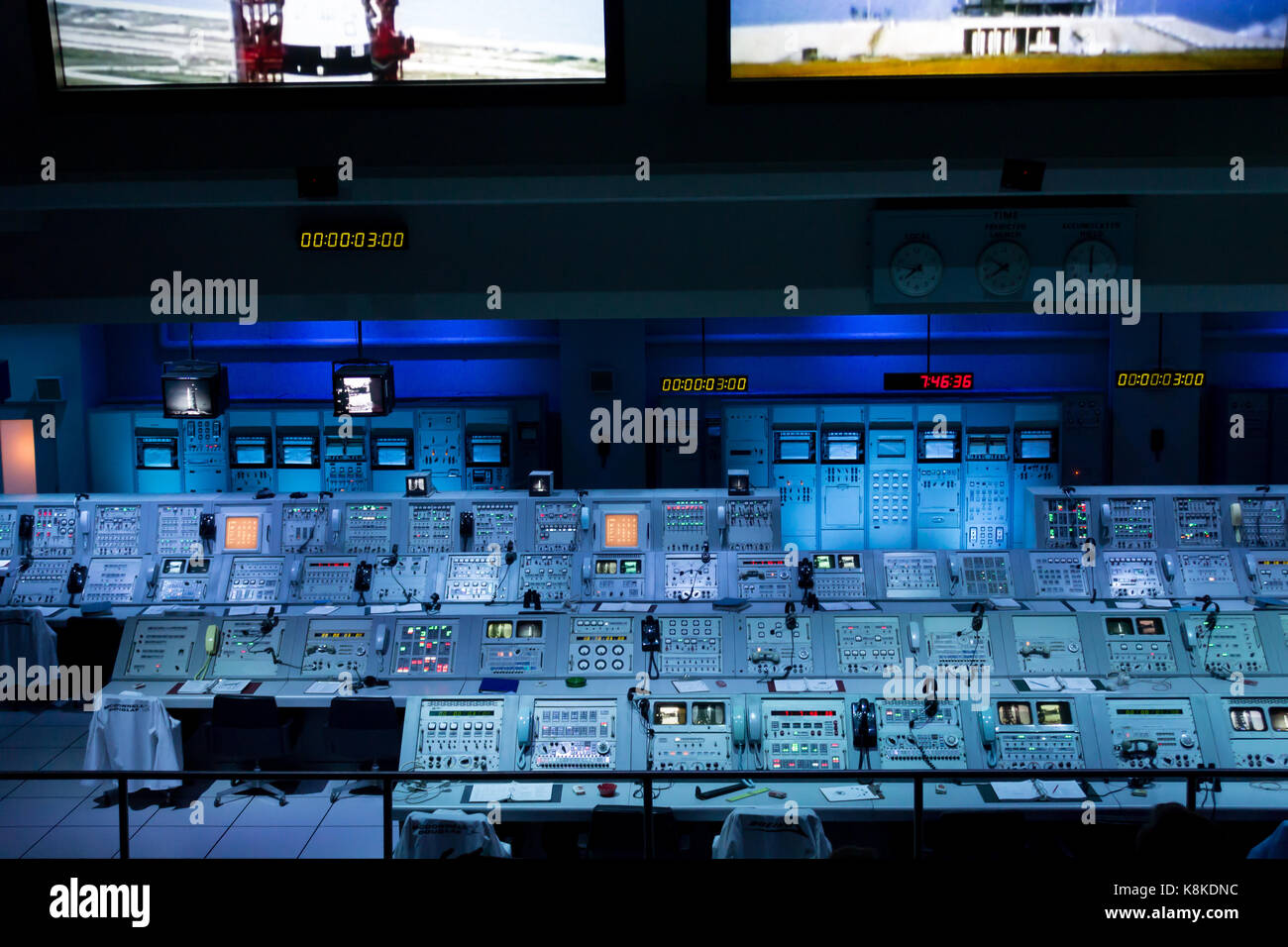 Actual Apollo Mission Control consoles on display in the Apollo/Saturn V Center at Kennedy Space Center - Stock Image