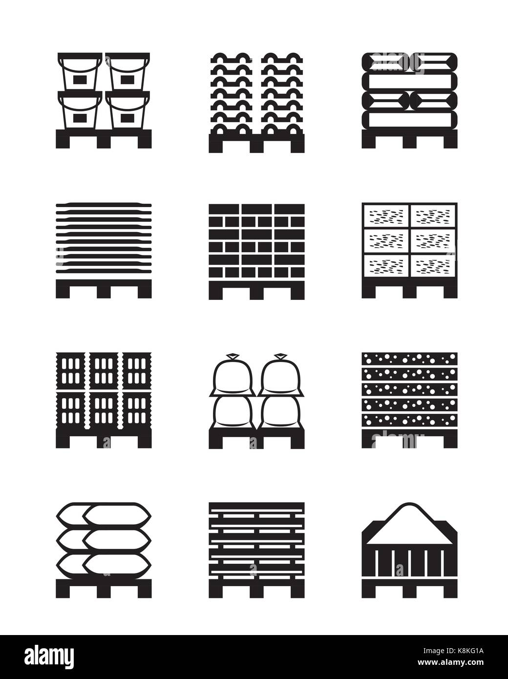 Pallets with different building materials - vector illustration - Stock Vector
