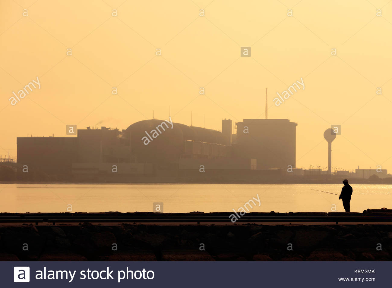 Candu nuclear electric power station reactor producing electric energy atomic power at Pickering Ontario Canada - Stock Image