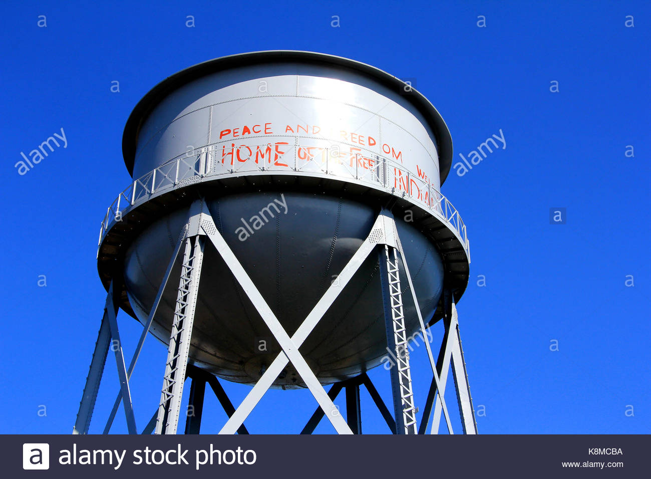 Water Tower at Alcatraz Island Federal Penitentiary. - Stock Image