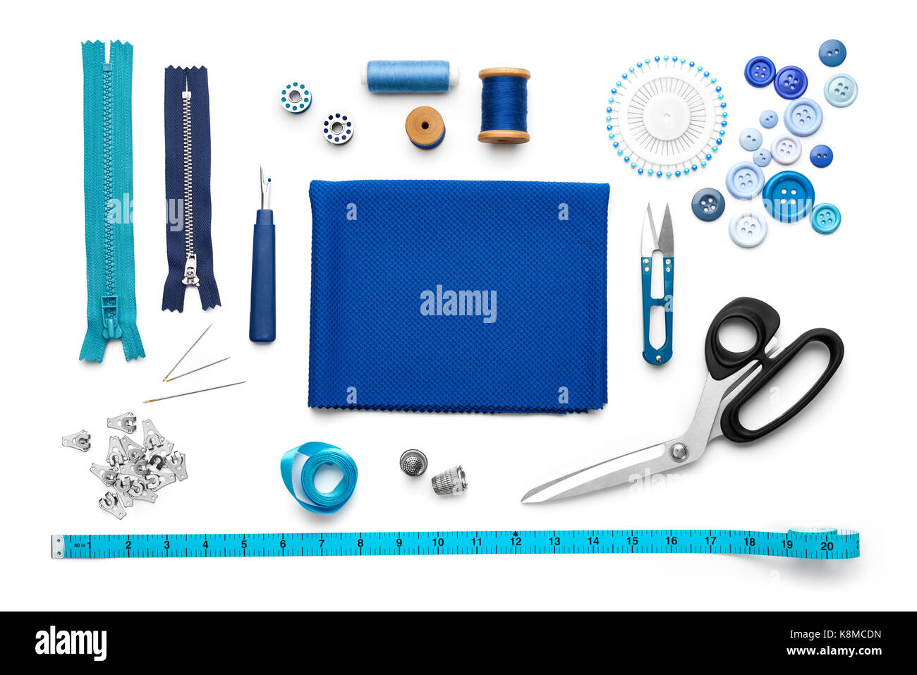 Overhead view of sewing tools and accessories Stock Photo