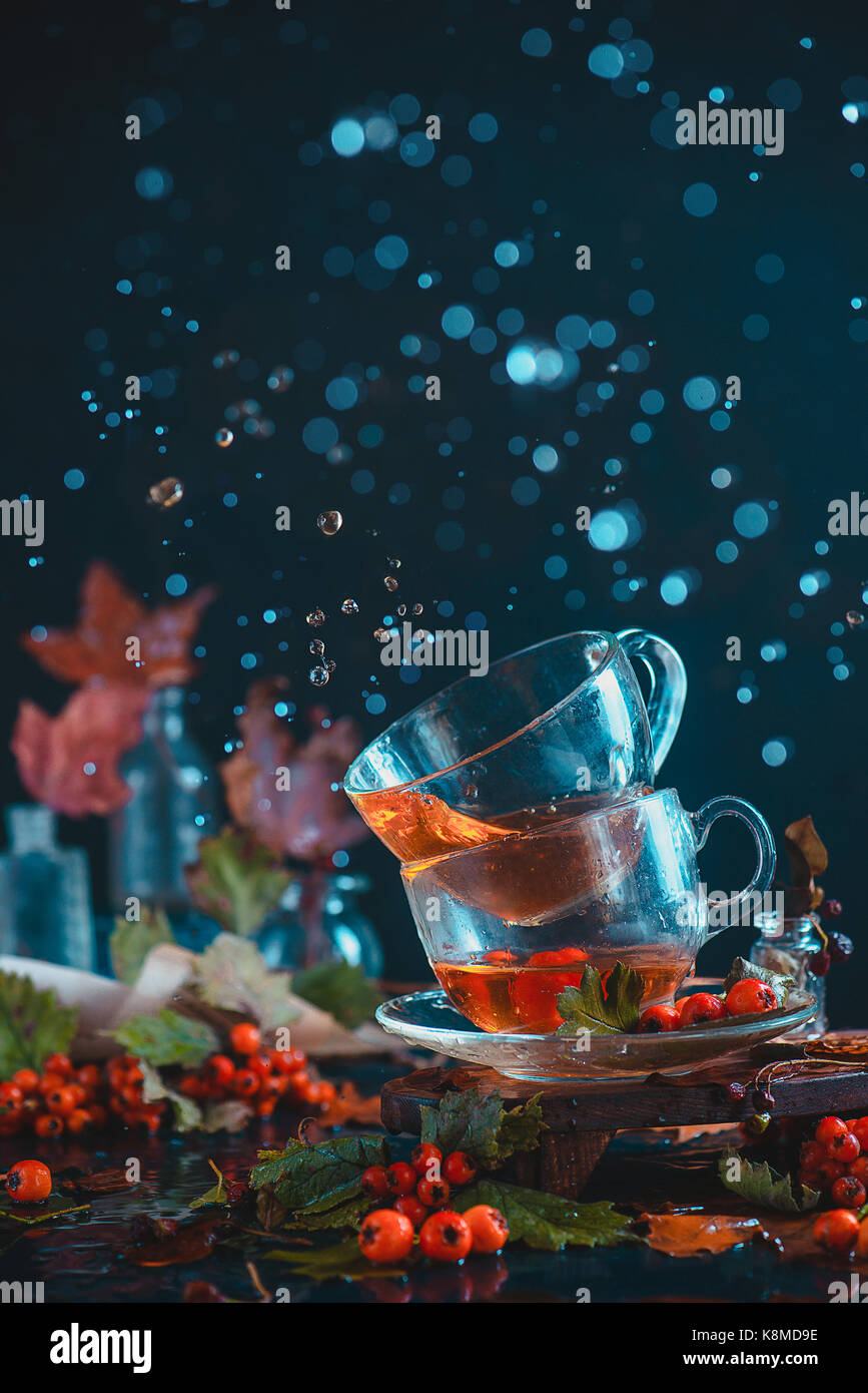Dark autumn still life with a pair of teacups, leaves, berries and cinnamon on a wet background. Action photography - Stock Image
