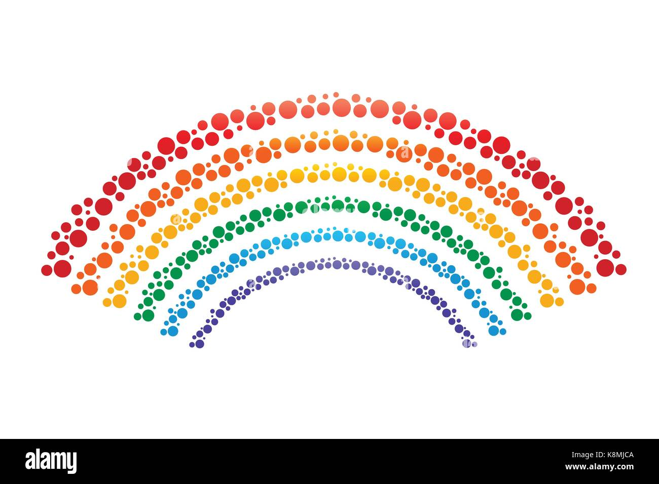 colorful rainbow with cirlces , rainbow illustration, icon design, isolated on white background Stock Vector