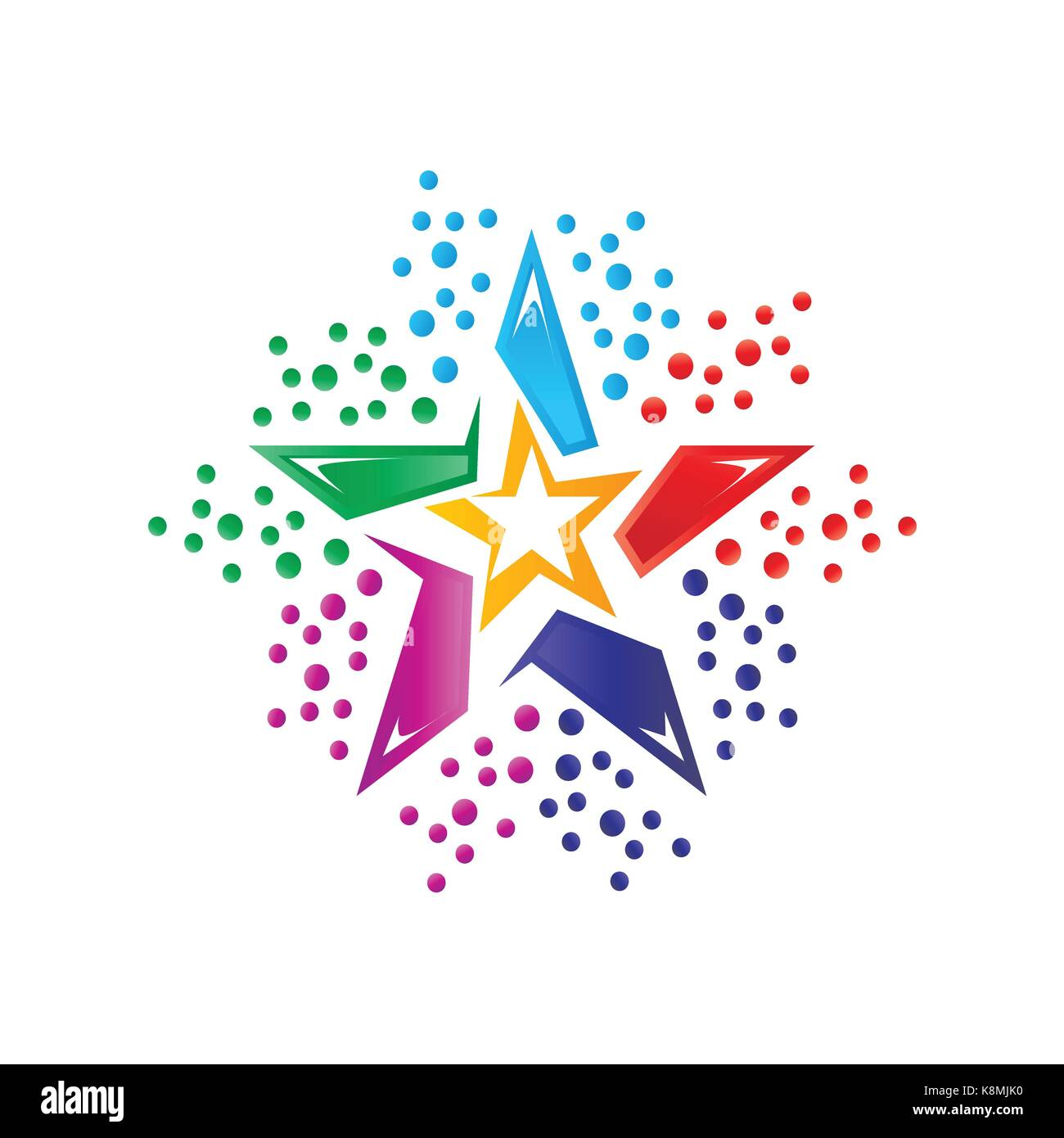 colorful star logo, star logo, icon design, isolated on white background. Stock Vector