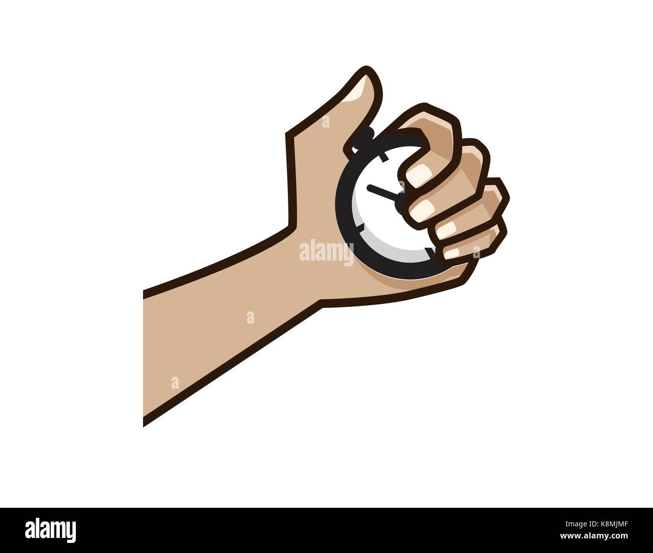 hands holds a timer with bold lines, illustration design, isolated on white background. Stock Vector