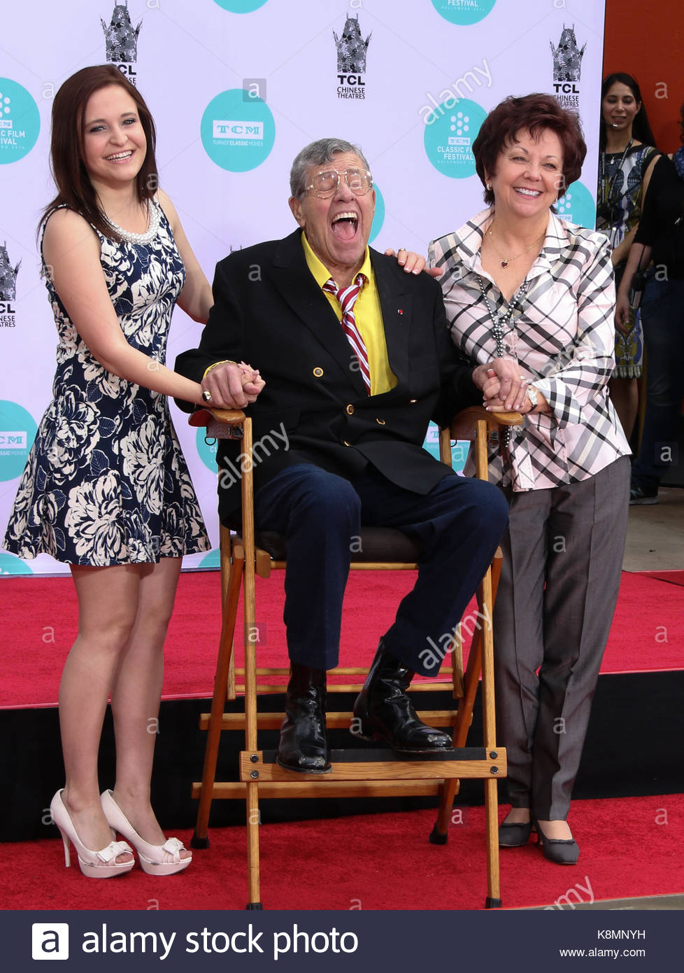 Jerry Lewis, Danielle Sarah Lewis, SanDee Pitnick. Jerry Lewis Hand and Footprint Ceremony as part of the 2014 TCM Stock Photo