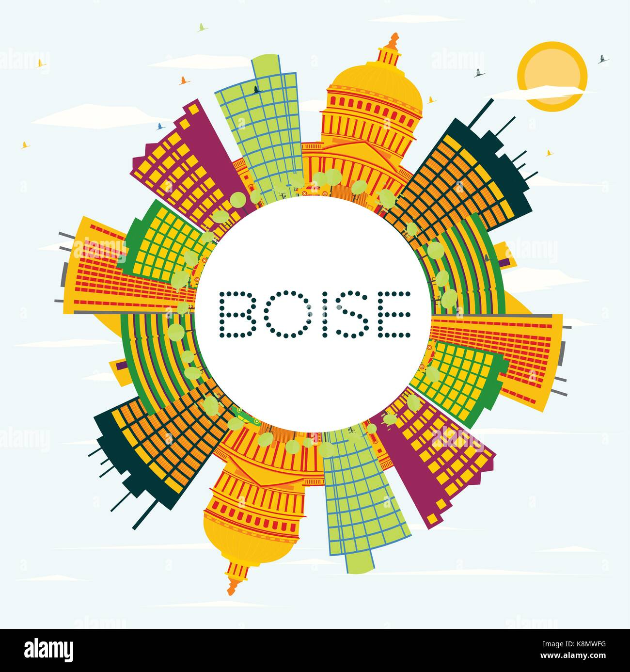 Boise USA Skyline with Color Buildings, Blue Sky and Copy Space. Vector Illustration. Business Travel and Tourism - Stock Vector