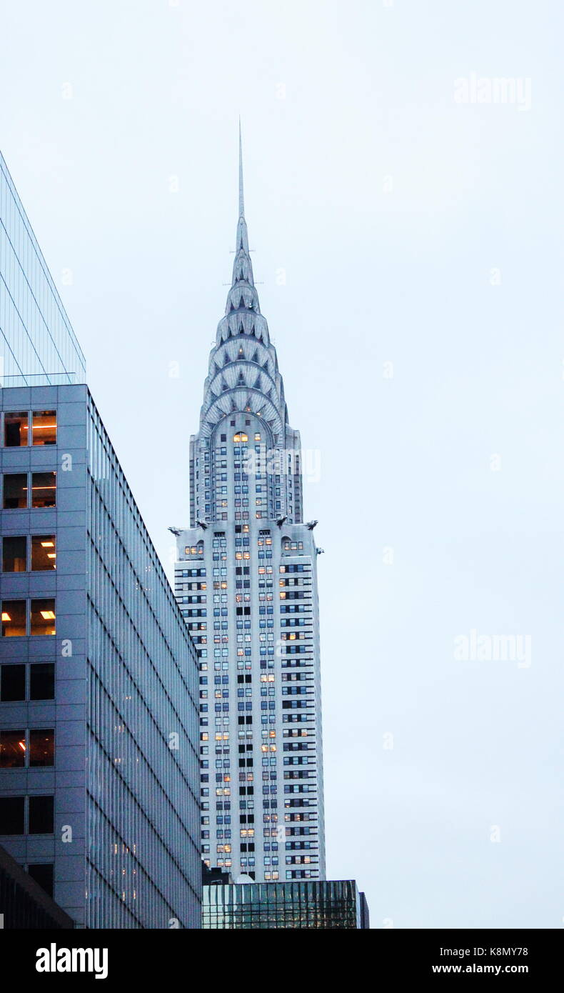 New York, USA - 28 September 2016: Vertical image of Manhattan Buildings, including the iconic Chrysler Building - Stock Image