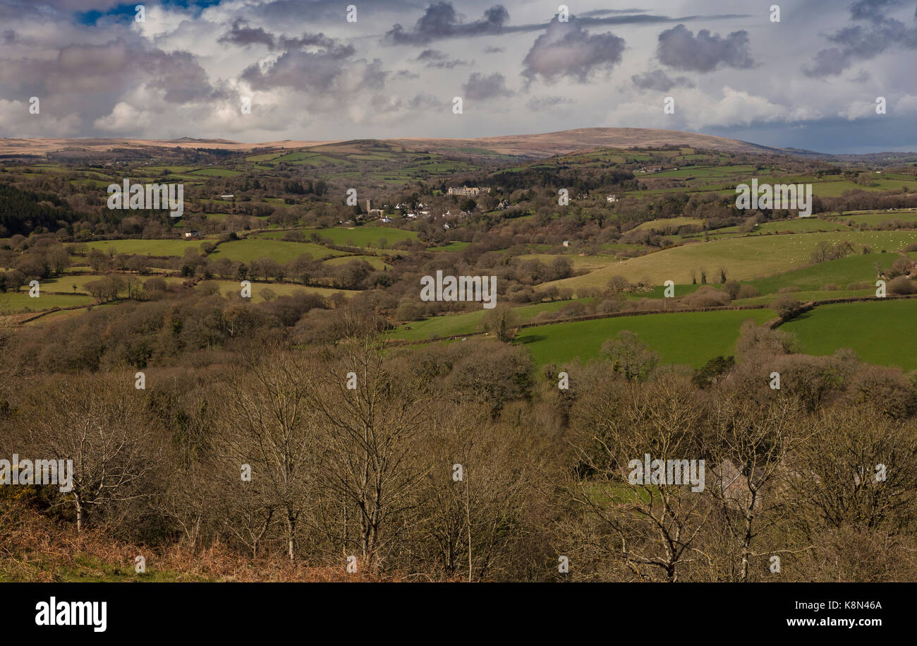 View across east Dartmoor from Hunter's Tor towards North Bovey, Devon - Stock Image