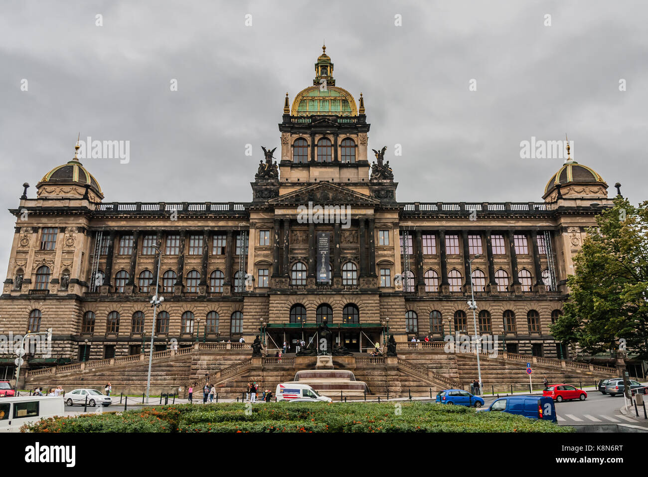 The facade of the National Museum, Prague - Stock Image