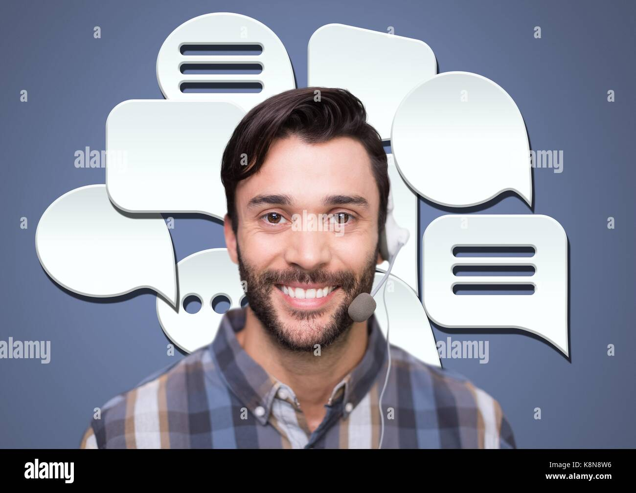 Digital composite of Customer care service man with chat bubbles - Stock Image