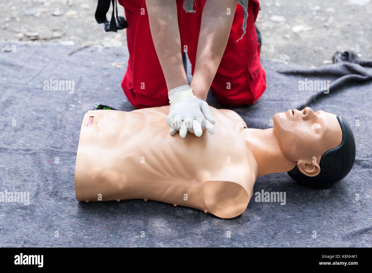 f6ef1bcf37 First aid training. Cardiopulmonary resuscitation - CPR Stock Photo ...