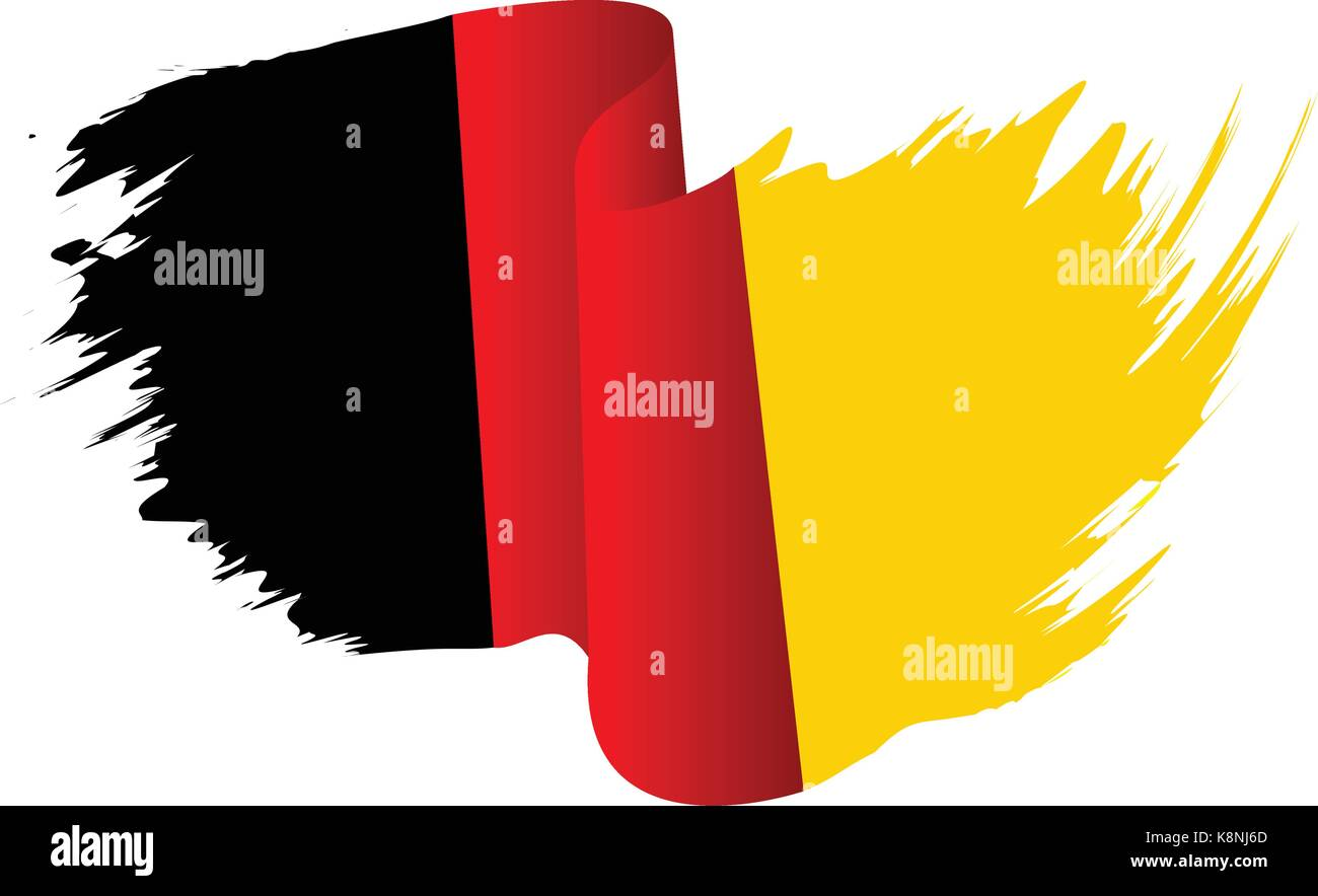 Germany flag vector symbol icon  design. German flag color illustration isolated on white background. - Stock Image
