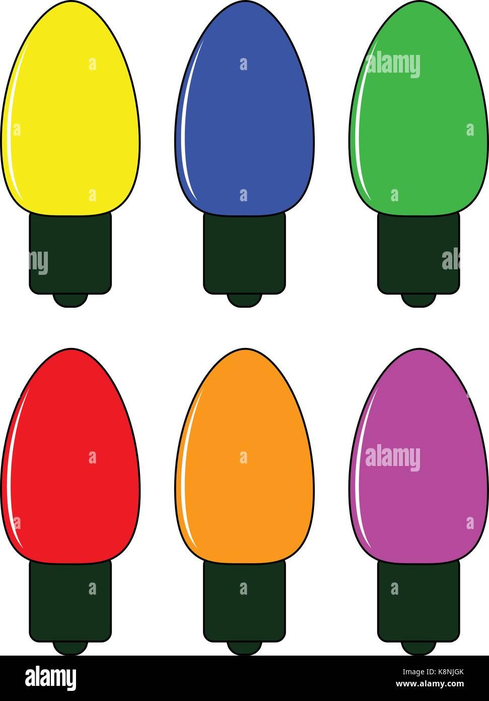 Cartoon Christmas Lights.Christmas Light Bulb Vector Symbol Set Icon Design Winter