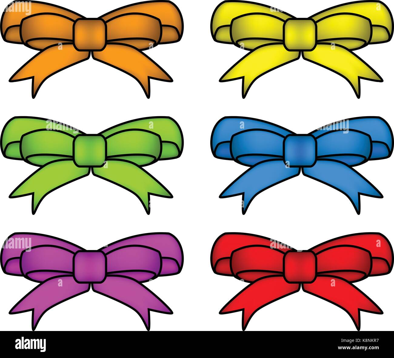 ribbon bow set for christmas present symbol design. Vector illustration isolated on white background. - Stock Vector