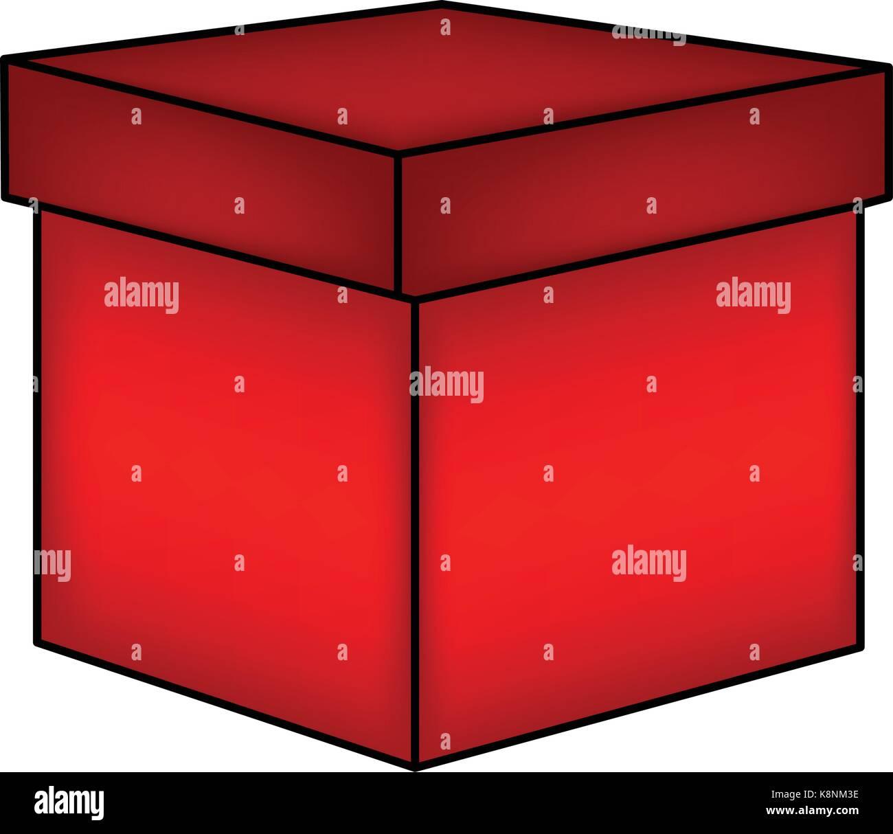 christmas box, gift icon, symbol, design. vector illustration isolated on white background. - Stock Image