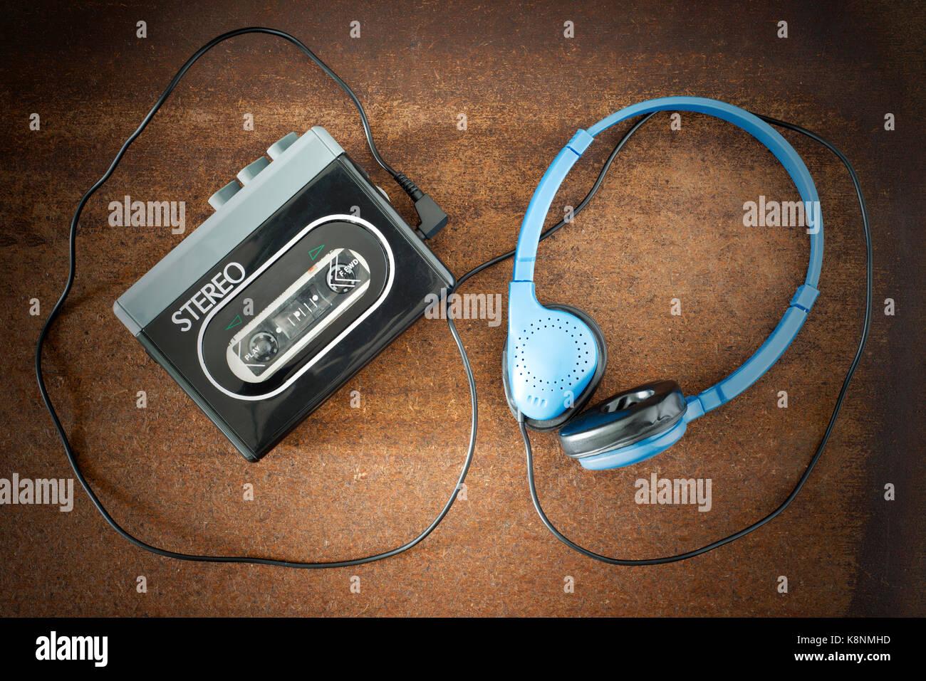 Vintage walkman and headphones. - Stock Image