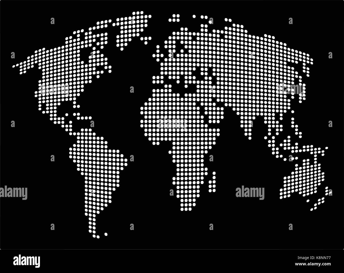 Dotted World Map Vector Vectors Stock Photos & Dotted World Map ...