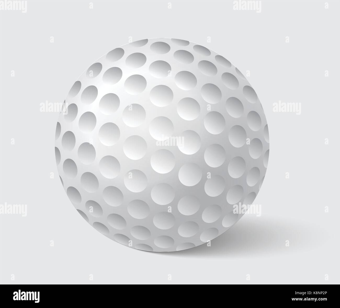 Golfball realistic vector. Image of single golf equipment, ball illustration isolated on grey background. - Stock Image