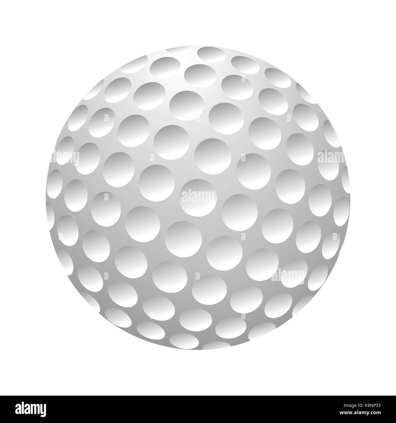Golfball realistic vector. Image of single golf equipment, ball illustration isolated on white background. - Stock Image