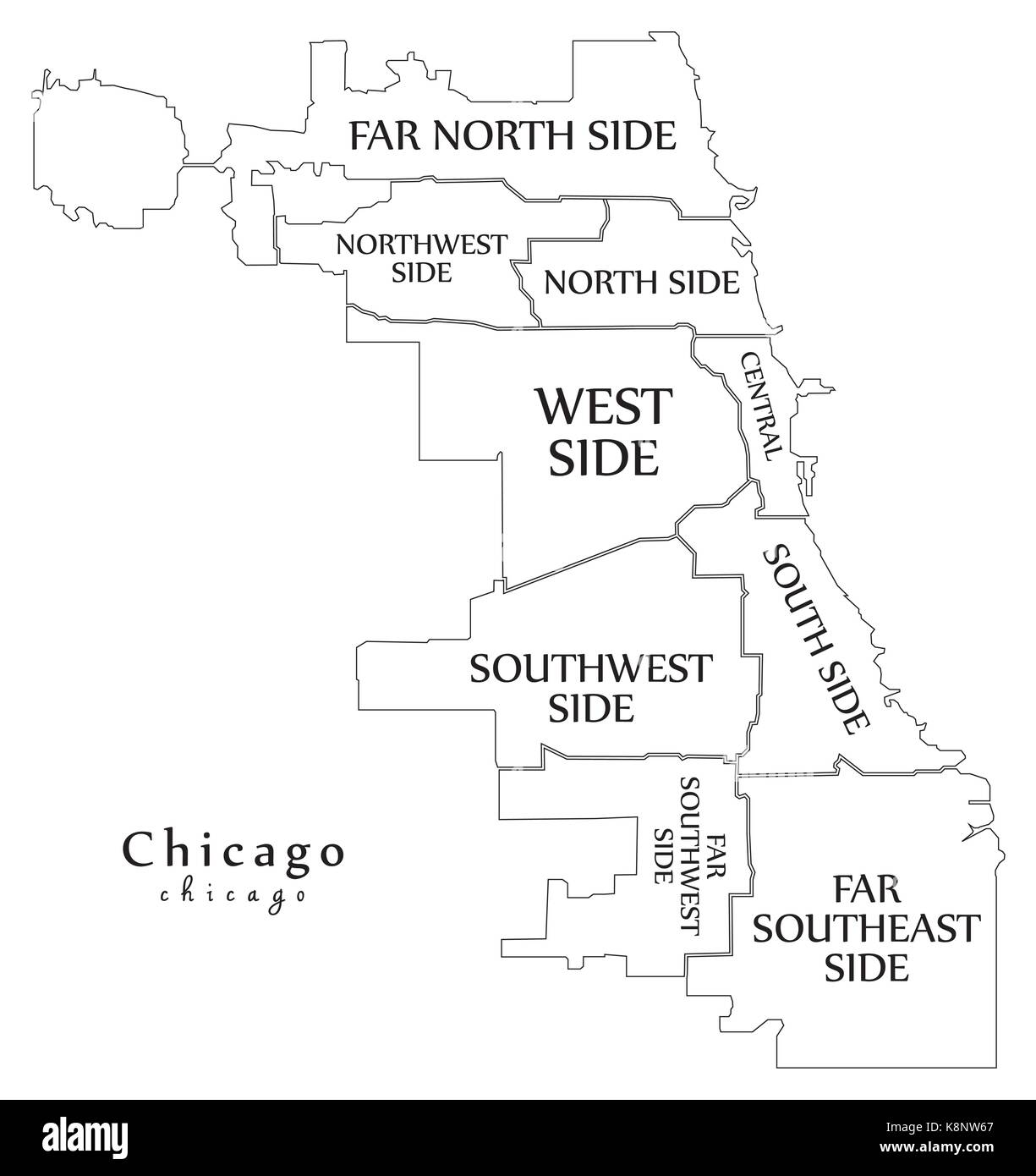 Modern City Map Chicago city of the USA with boroughs and titles