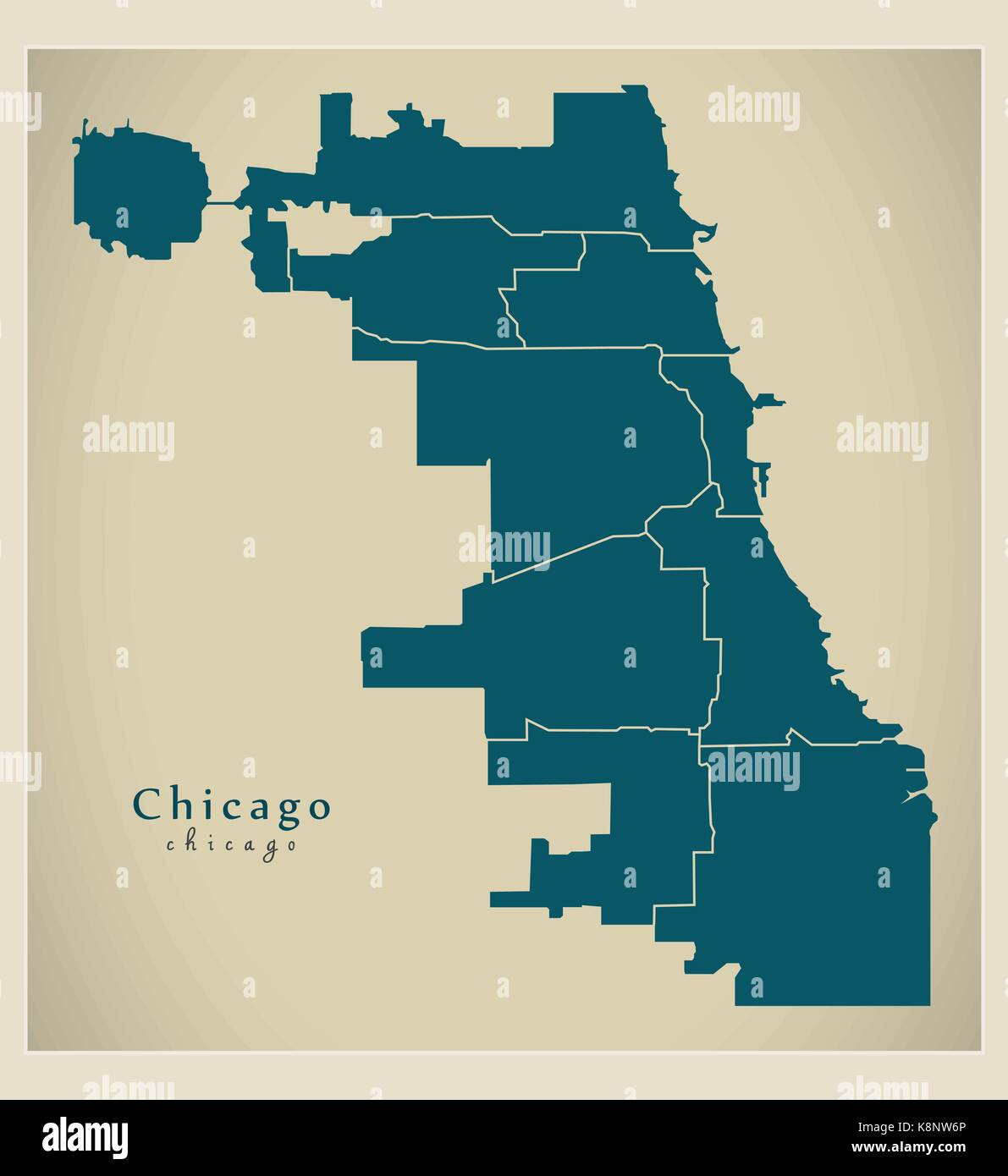 Chicago Boroughs Map Modern City Map   Chicago city of the USA with boroughs Stock