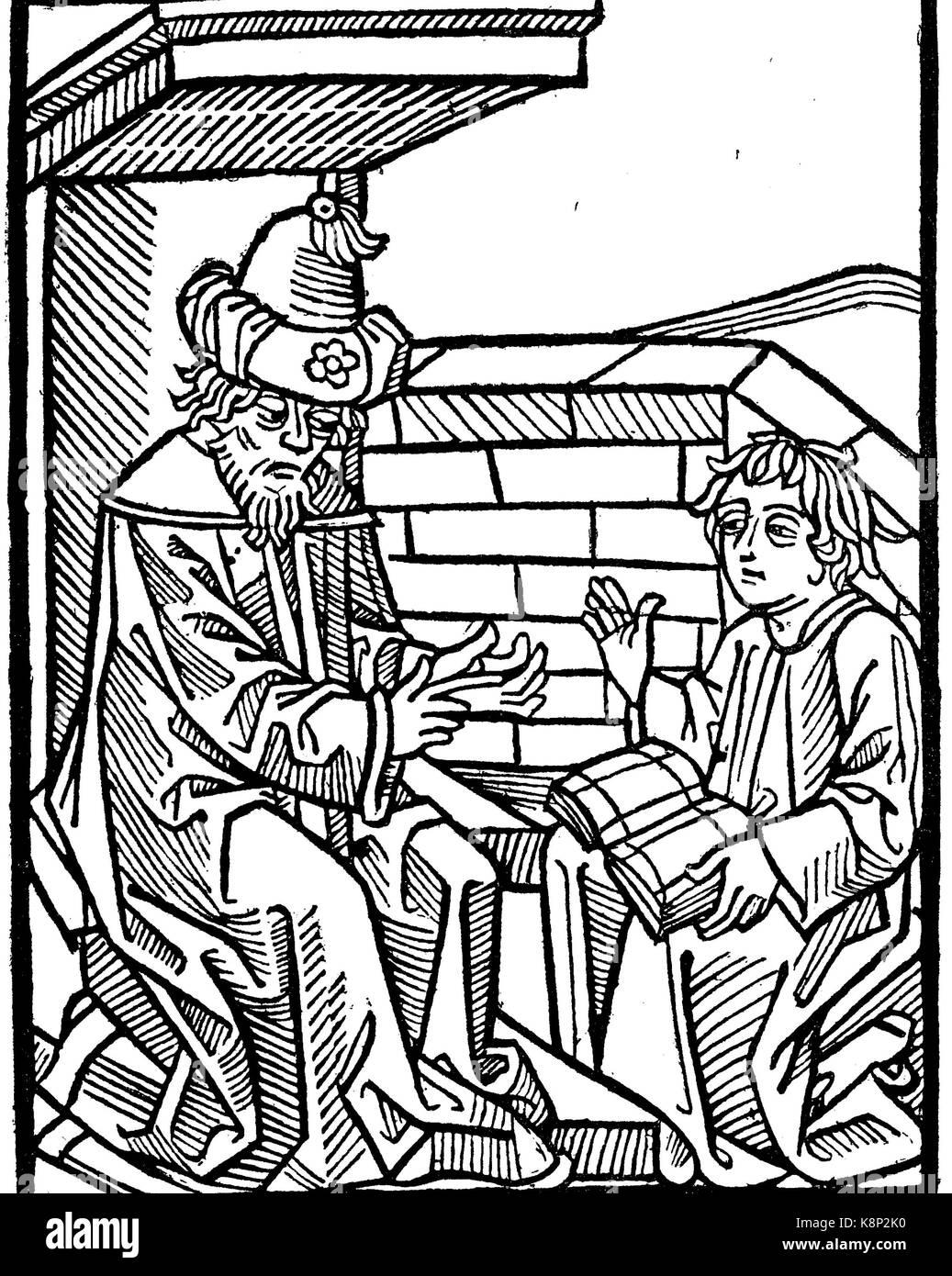 teacher and pupil, Lehrer und Schüler, Holzschnitt aus Ars memorativa von Anton Sorg, 1475, digital improved - Stock Image