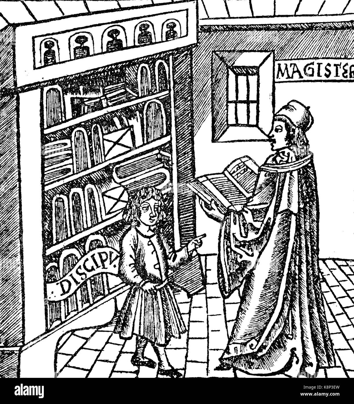 teacher and pupil, Lehrer und Schüler, aus Margarita philosophica, 1512, digital improved reproduction of a woodcut, Stock Photo