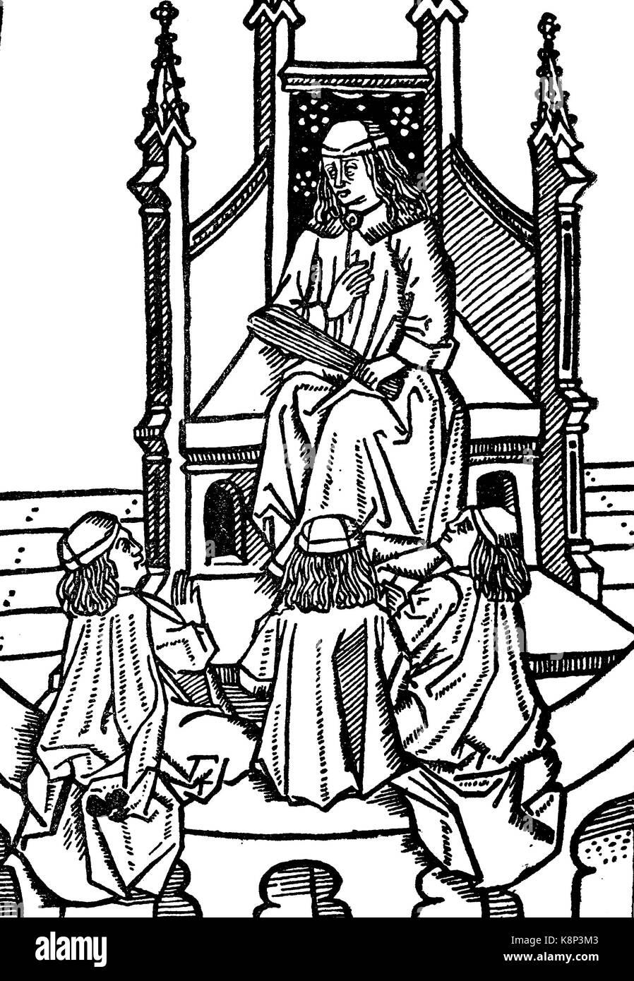 teacher with 3 pupils, Lehrer mit drei Schülern, Holzschnitt aus Opusculum quintupartitum grammaticale, 1446, - Stock Image