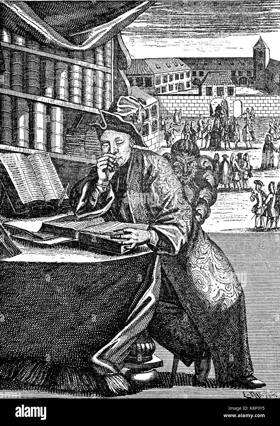 The diligent student, Der fleißige Student, 1710, digital improved reproduction of a woodcut, published in - Stock Image