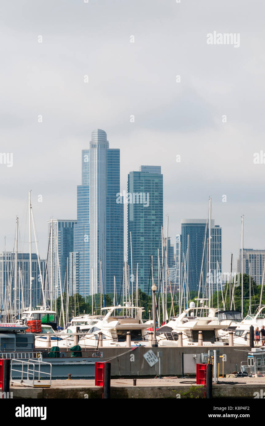 View of skyscrapers across DuSable Harbor from the Chicago River - Stock Image