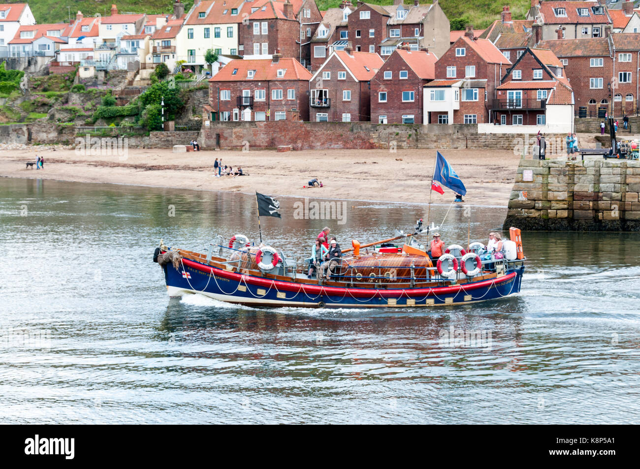 Boat trips around Whitby harbour in RNLB Mary Ann Hepworth, the old Whitby lifeboat. - Stock Image