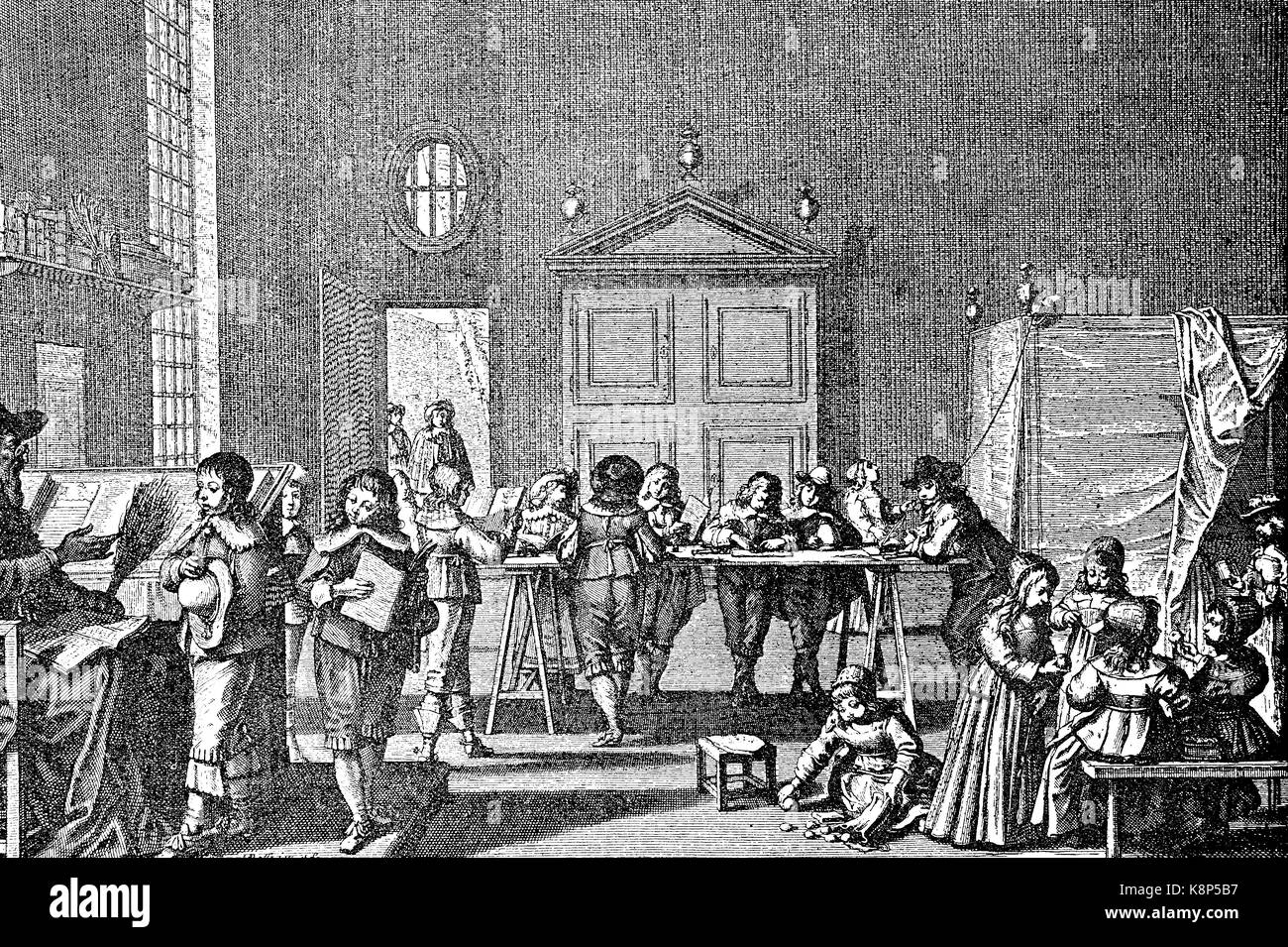 School of boys in the 17th century, Knabenschule im 17. Jahrhundert, digital improved reproduction of a woodcut, Stock Photo