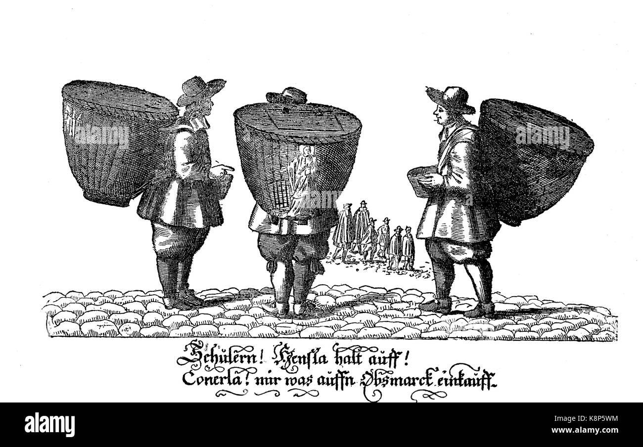 Begging students with their baskets in Nuremberg, Nuremberg, Bavaria, Germany, Bettelnde Schüler mit ihren Körben Stock Photo