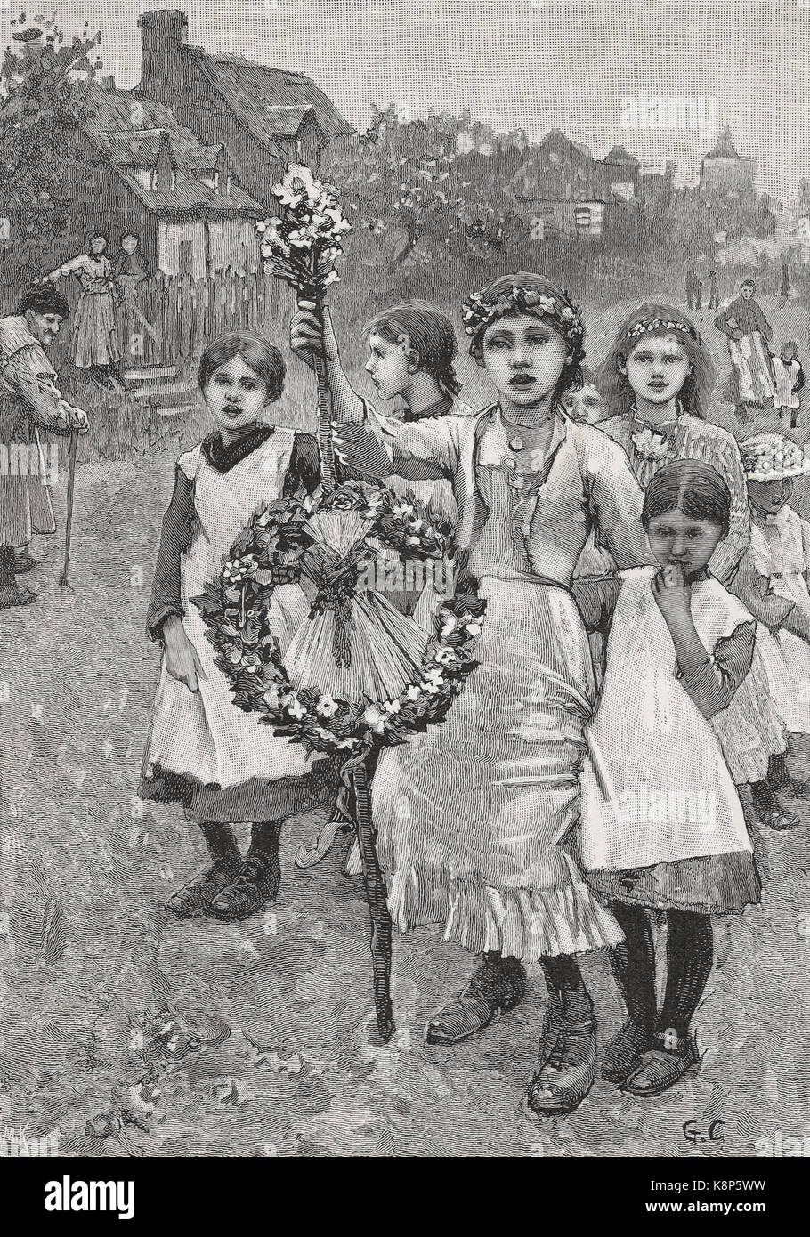 Young girls on a Victorian May day, 1886 - Stock Image