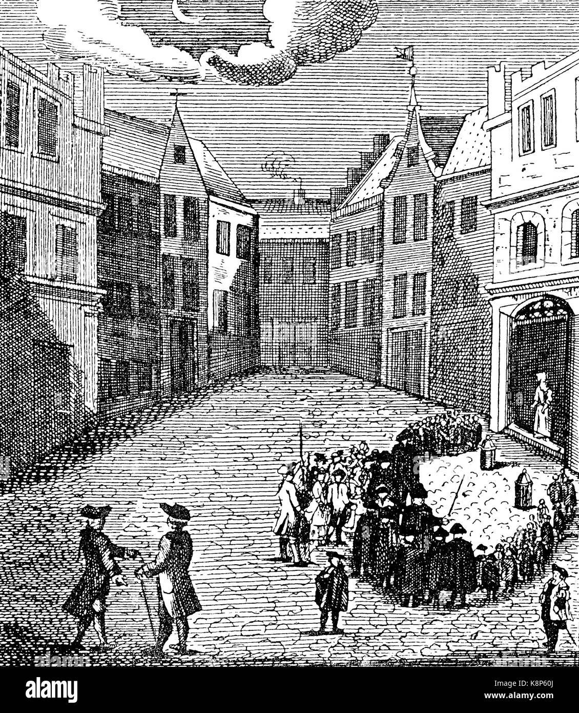 Night singing, Nuremberg, Nachtsingen der Kurrenden in Nürnberg, 1750, aus öffentliche Gebräuche in Nürnberg, Bayern, Stock Photo