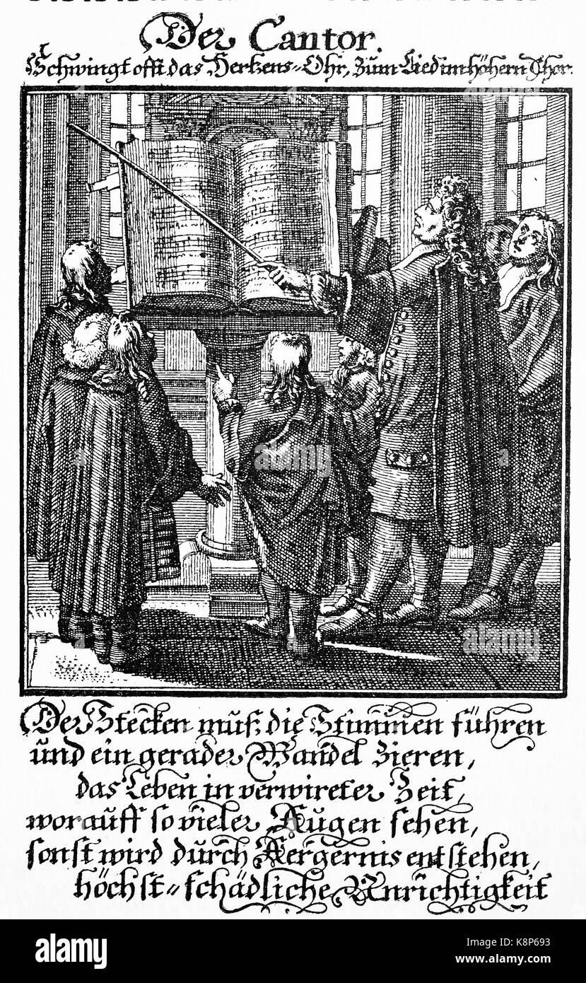 Cantor teaching the musical notation, Der Kantor beim Lehren der Noten, digital improved reproduction of a woodcut, - Stock Image