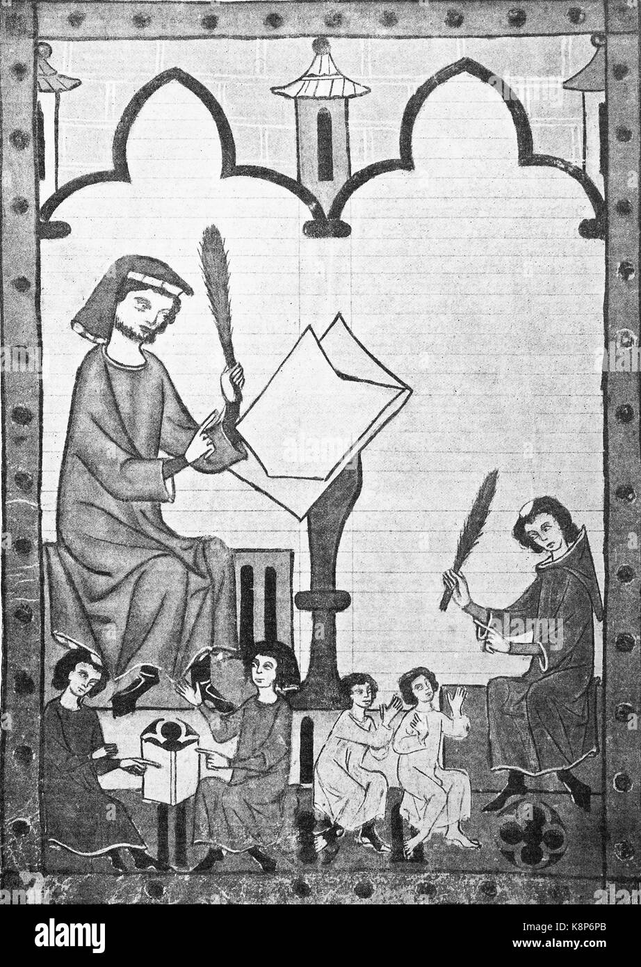 teacher und child in the middle ages from the Codex Manesse, Manesse Codex, or Große Heidelberger Liederhandschrif, Stock Photo