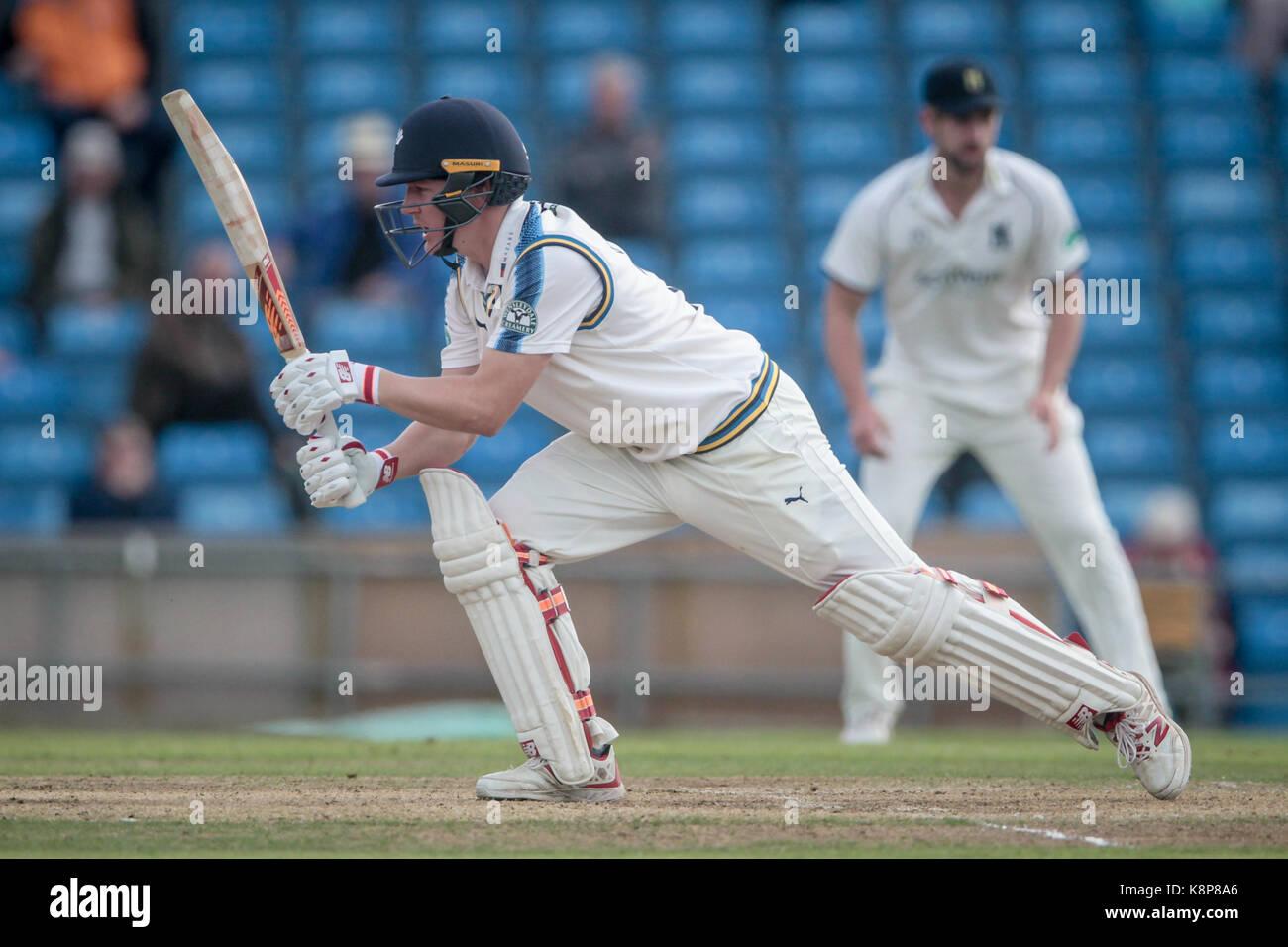 Leeds, UK. 20th Sep, 2017. Gary Ballance (Yorkshire CCC) plays a block shot Yorkshire CCC v Warwickshire CCC on - Stock Image