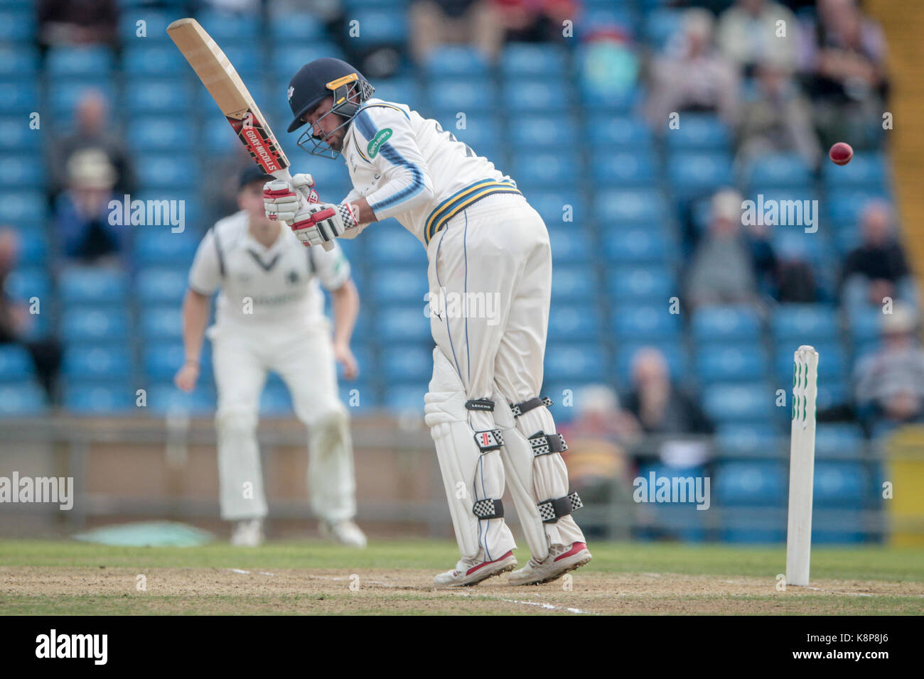 Leeds, UK. 20th Sep, 2017. Jack Leaning (Yorkshire CCC) guides a ball down leg side Yorkshire CCC v Warwickshire - Stock Image