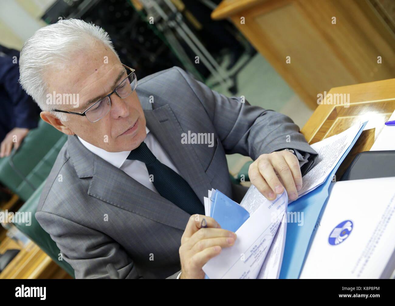 Moscow, Russia. 19th Sep, 2017. Alexei Sergeyev, secretary general/head of the secretariat of the Interparliamentary Stock Photo