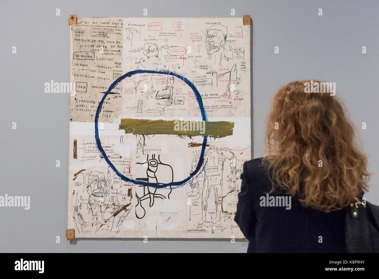 London, UK.  20 September 2017.  A visitor views 'Jesse', 1983, by Jean-Michel Basquiat. Preview of 'Basquiat: - Stock Image