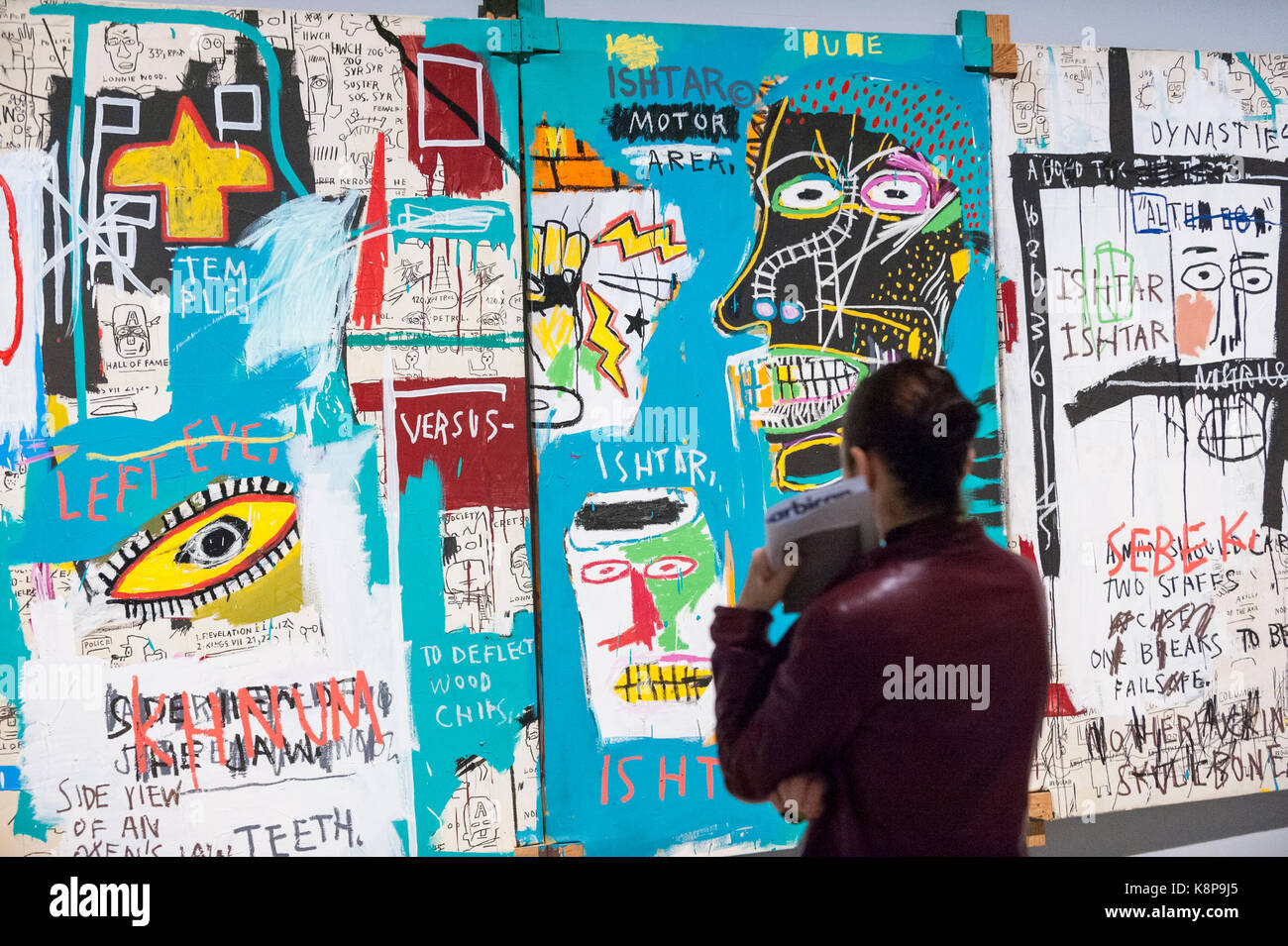 London, UK.  20 September 2017. A woman views 'Ishtar', 1983, by Jean-Michel Basquiat. Preview of 'Basquiat: - Stock Image
