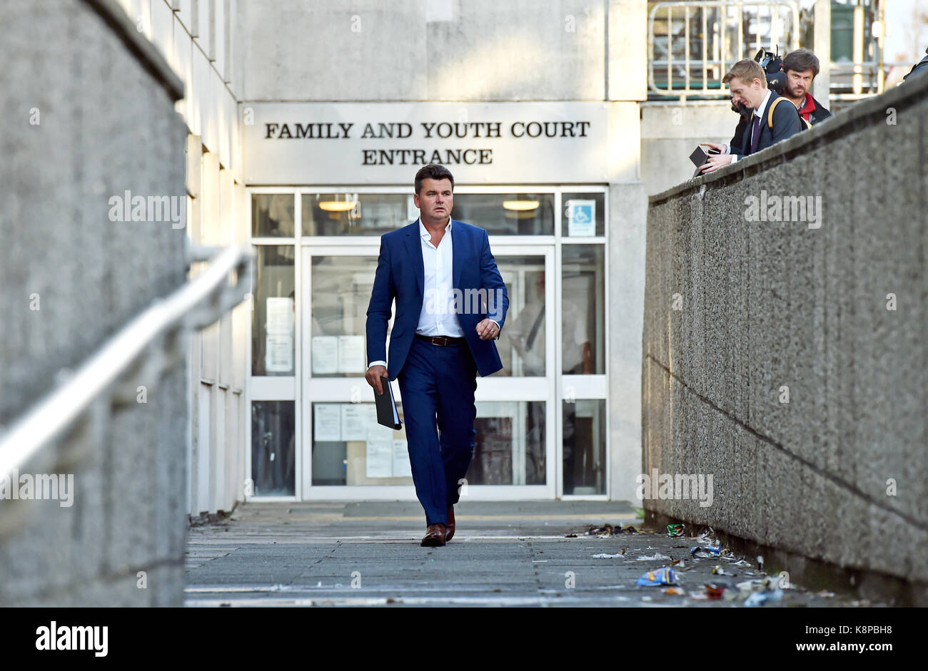Brighton, UK. 20th Sep, 2017. Dominic Chappell the former owner of BHS leaves Brighton Court where he was being - Stock Image