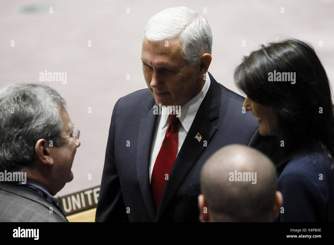 New York City, Usa. 20th Sep, 2017. Vice President Mike Pence (C) of the United States and United States Permanent - Stock Image